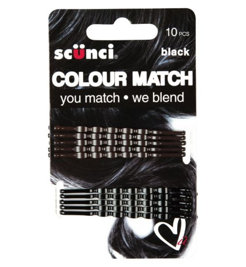 Scunci Colour Match Wavy Black Bobby 10s