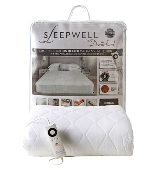 Sleepwell by Dreamland Luxurious Cotton Heated Mattress Protector - Double