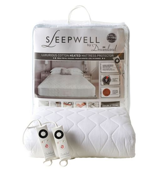 Sleepwell by Dreamland Luxurious Cotton Heated Mattress Protector - Double Dual Control