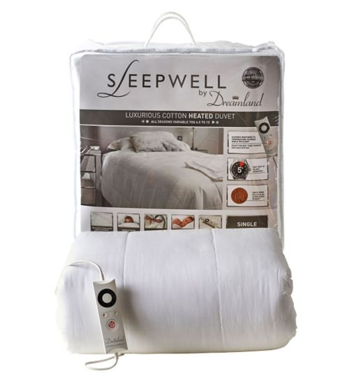 Sleepwell by Dreamland Luxurious Cotton Heated Duvet - Single
