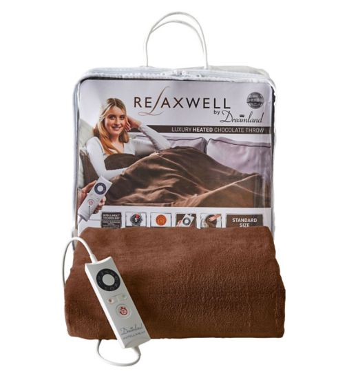 Relaxwell by Dreamland Luxury Heated Chocolate Throw