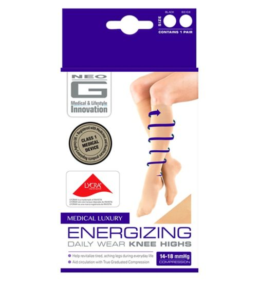 Neo G Energizing Daily Wear Knee Highs Beige - Medium