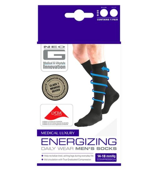 Neo G Energizing Daily Wear Men's Socks White - Large