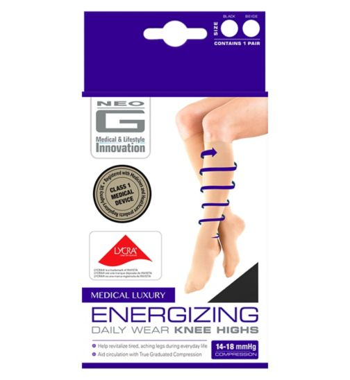Neo G Energizing Daily Wear Knee Highs Black - Medium