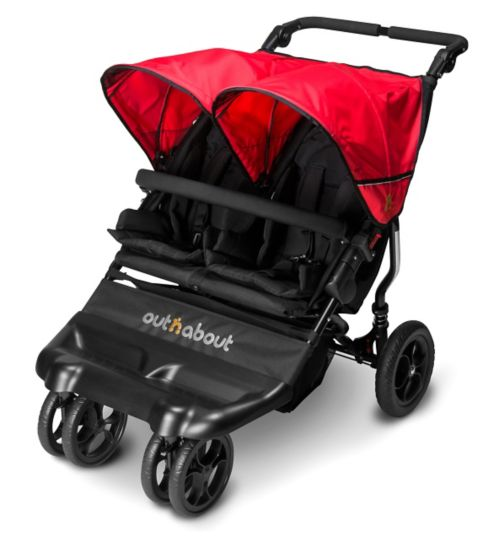 Out 'n' About Little Nipper Double Pushchair - Poppy Red