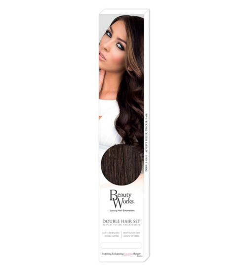 Beauty Works Double Hair Set Clip-In Extensions - Raven