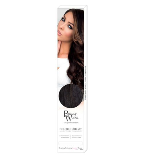 Hair extensions hair accessories hair beauty skincare boots beauty works double hair set clip in extensions ebony pmusecretfo Choice Image