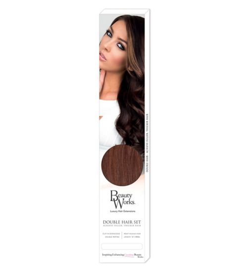 Beauty Works Double Hair Set Clip-In Extensions - Chocolate