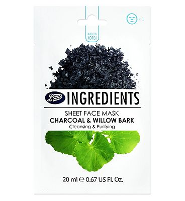 Boots Ingredients Charcoal & Willow Bark