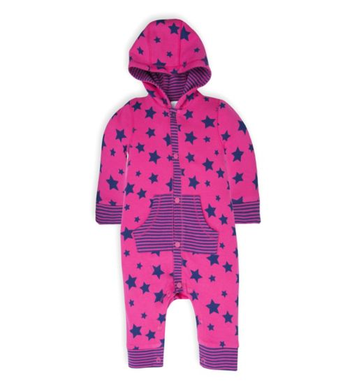 Mini Club Baby Girls Hooded All in One Pink Star