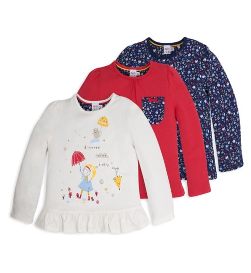 Mini Club Girls 3 Pack Long Sleeved Tops 'Rainy Days'