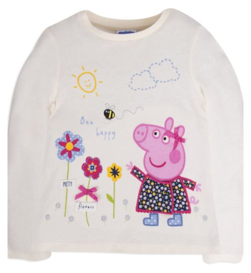 Mini Club Girls Long Sleeved Top Cream Peppa Pig