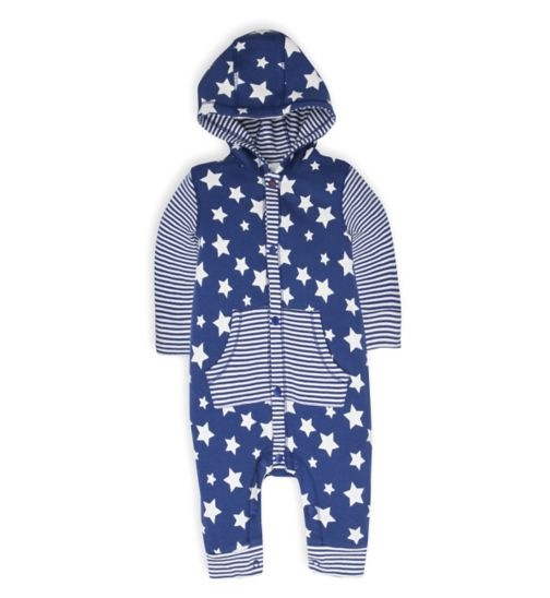 Mini Club Baby Hooded All in One Navy Star