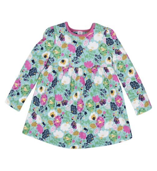 Mini Club Girls Long Sleeved Tunic Blue Floral