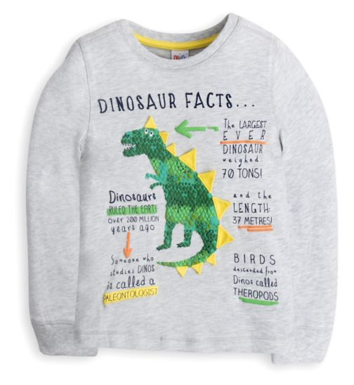 Mini Club Boys Long Sleeved Top Grey Dinosaur