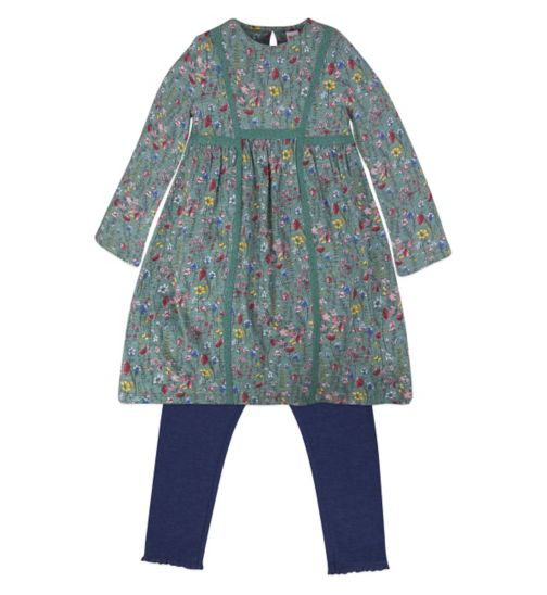 Mini Club Girls Dress and Legging Set Green Floral