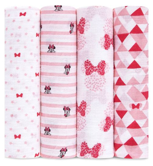 Aden Muslin Swaddle Blanket 4 Pack Minnie Mouse ( 112 x 112cm)