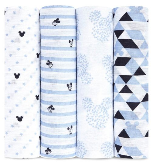 Aden Muslin Swaddle Blanket 4 Pack Mickey Mouse ( 112 x 112cm)