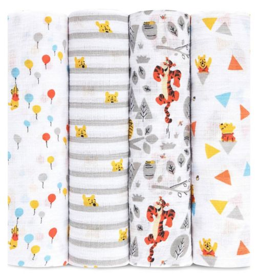 Aden Muslin Swaddle Blanket 4 Pack Winnie the Pooh ( 112 x 112cm)
