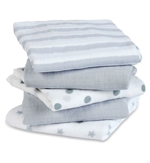 Aden Muslin Squares 5 Pack Dove (60 x 60cm)
