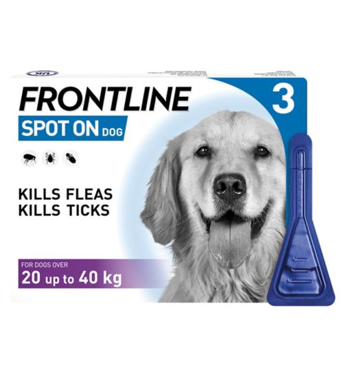 Frontline Spot On Dog 10% w/v spot on solution for dogs over 20 up to 40kg - 3 x pipettes