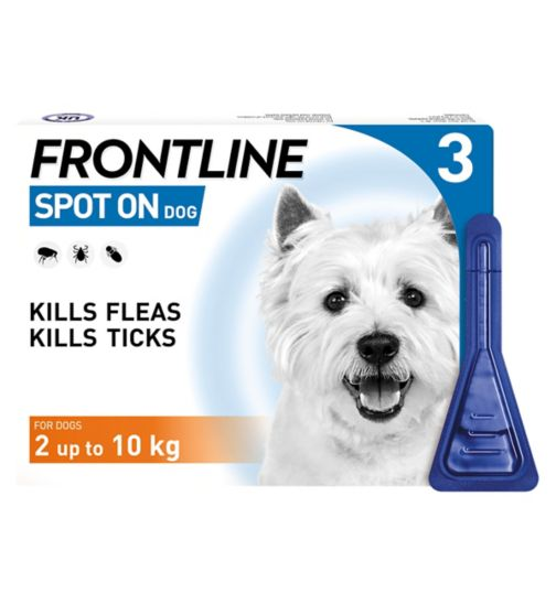 Frontline Spot On Dog 10% w/v spot on solution for dogs  2 to 10kg - 3 x pipettes