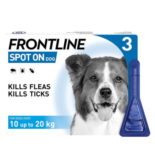 Frontline Spot On Dog 10% w/v spot on solution for dogs over 10 up to 20 kg - 3 x pipettes
