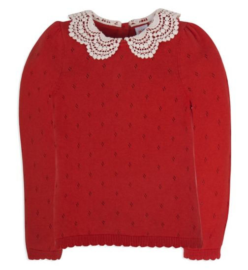 Mini Club Girls Long Sleeve Top Red Knit