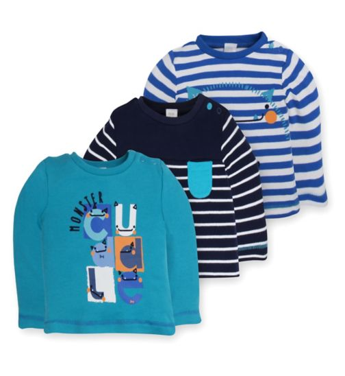 Mini Club Baby Boys 3 Pack Tops Blue Monster