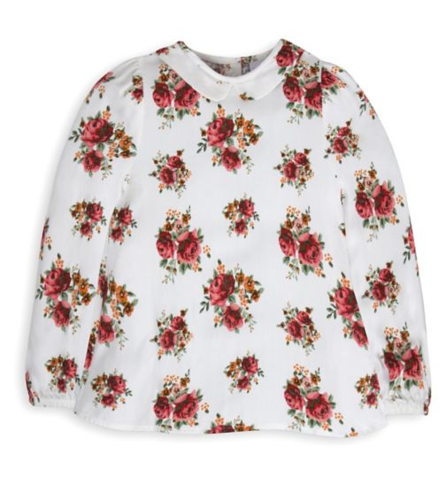 Mini Club Girls Long Sleeved Blouse White Floral