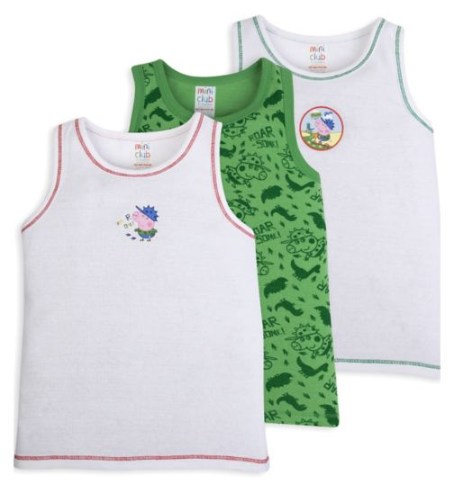 Mini Club Boys George Pig Vests Pack Of 3