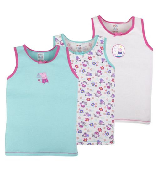 Mini Club Girls 3 Pack Vests Peppa Pig