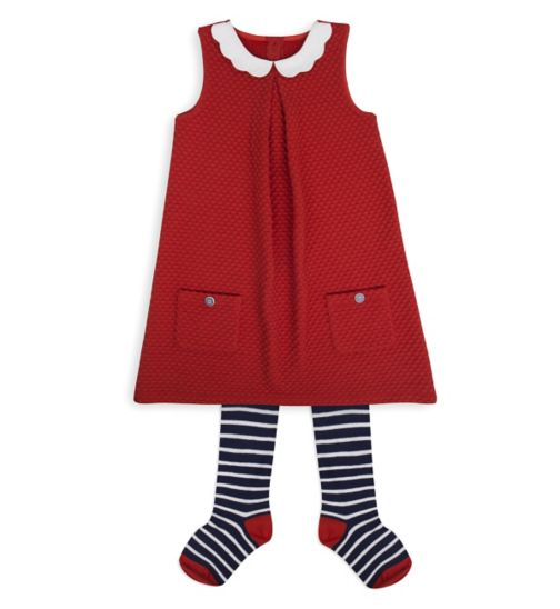 Mini Club Girls Dress and Tights Set Orange and Stripe