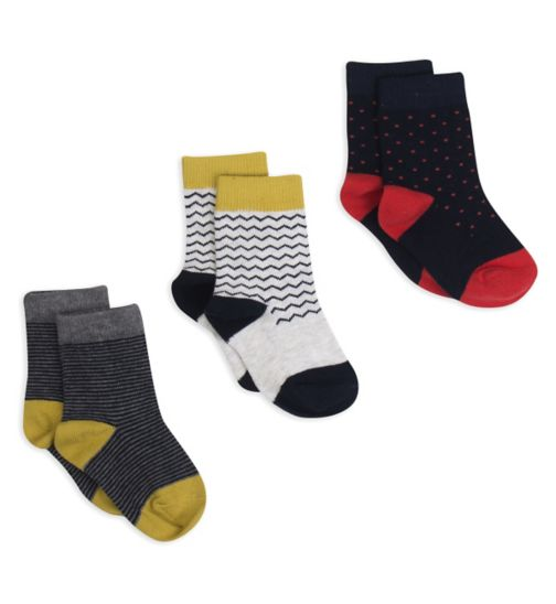 Mini Club Boys 3 Pack Socks Stripe and Polka Dot