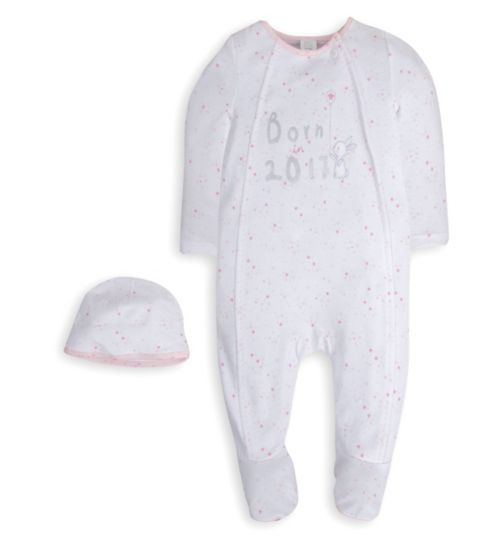 Mini Club Baby Girls All in One and Hat Pink 'Born in 2017'