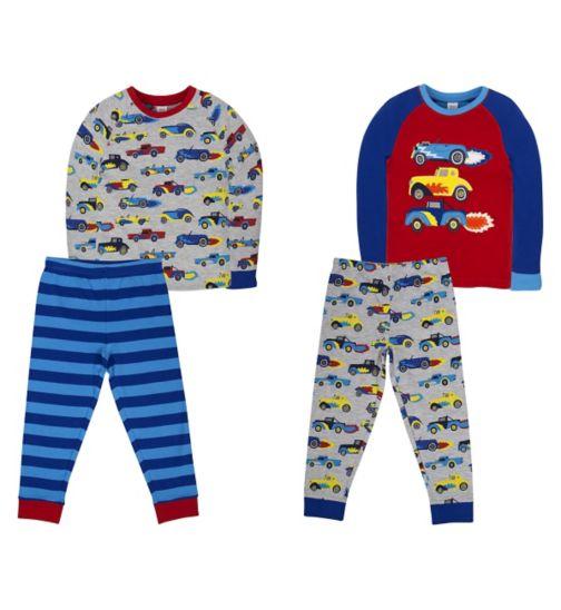 Mini Club Boys 2 Pack Long Sleeve Pyjamas Car