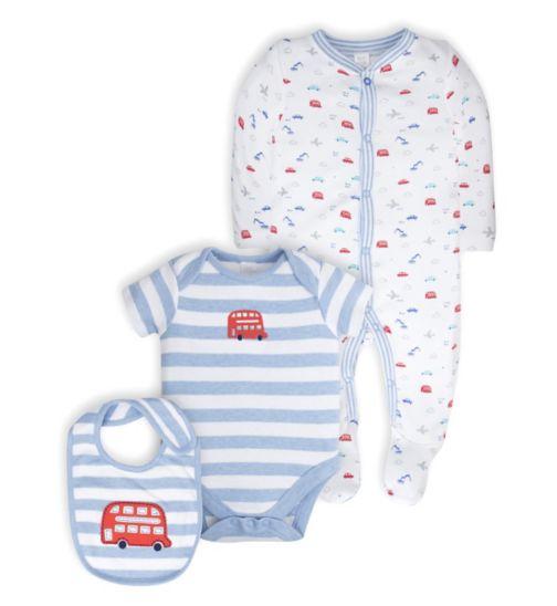 Mini Club Baby Boys Sleepsuit, Bodysuit and Bib Set Transport