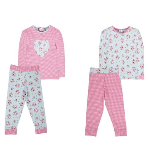Mini Club Girls 2 Pack Pyjamas Floral Heart