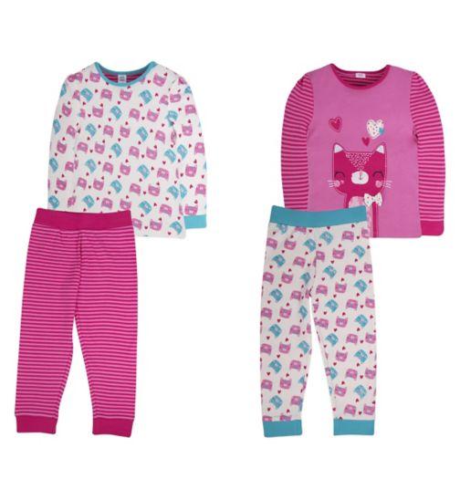 Mini Club Girls 2 Pack Pyjamas Cat