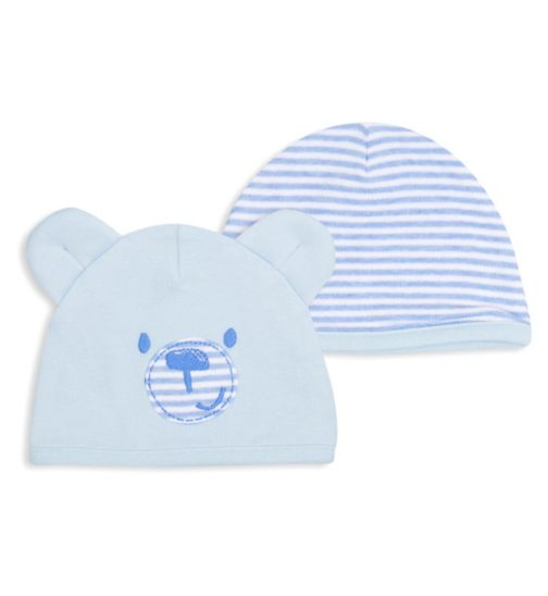 Mini Club Baby Boys 2 Pack Hats Blue Bear
