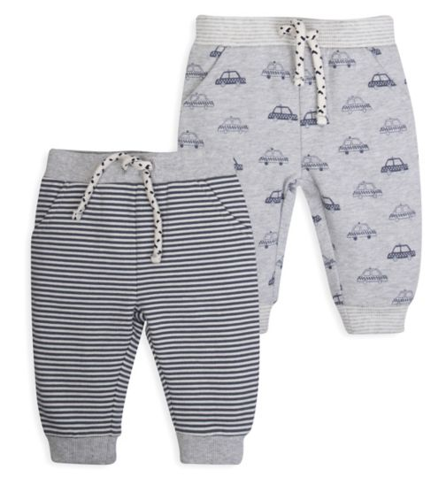 Mini Club Baby Boys Pack of 2 Jersey Joggers Grey