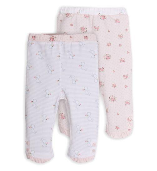 Mini Club Baby Girls 2 Pack Leggings Pink Floral Rabbit