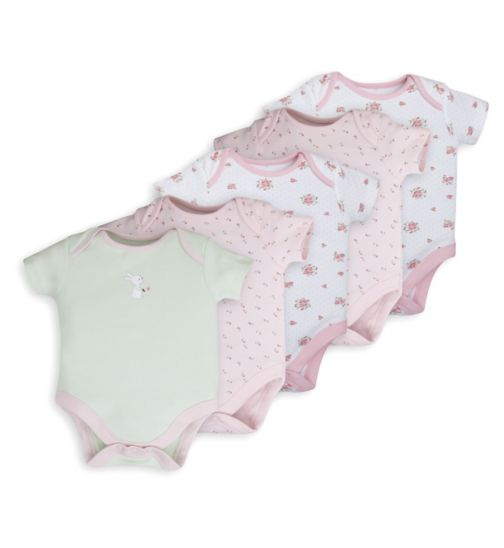 Mini Club Baby Girls Pack of 5 Bodysuits Floral Bunny