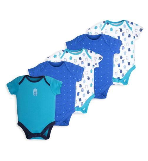 Mini Club Baby Boys Pack of 5 Bodysuits Monster