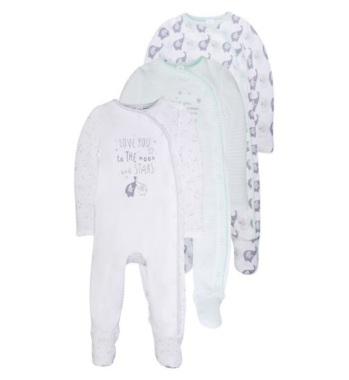 Mini Club Tiny Treasures Pack of 3 Sleepsuits Elephant