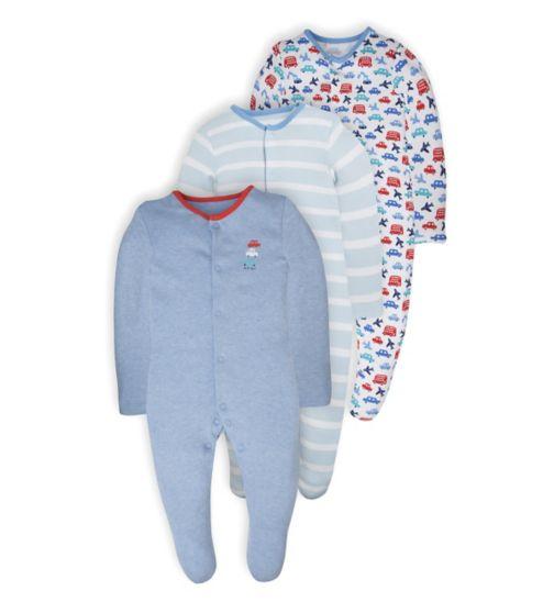 Mini Club Baby Boys 3 Pack Long Sleeve Sleepsuits Car