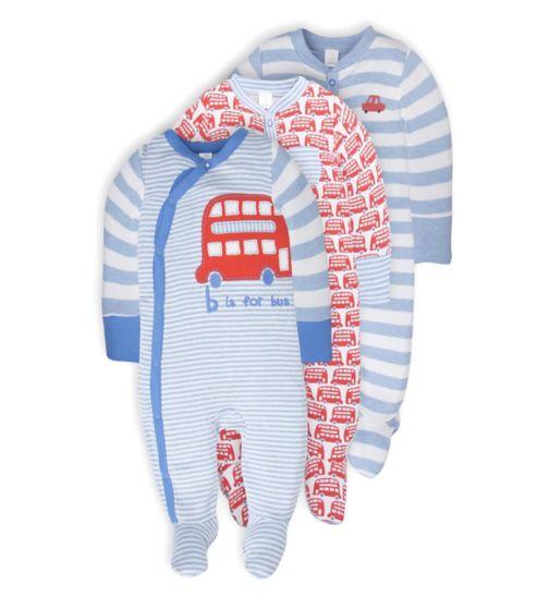 Mini Club Baby Boys 3 Pack Long Sleeve Sleepsuits Bus
