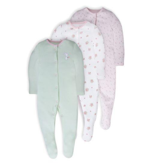 Mini Club Baby Girls 3 Pack Long Sleeve Sleepsuits Bunny