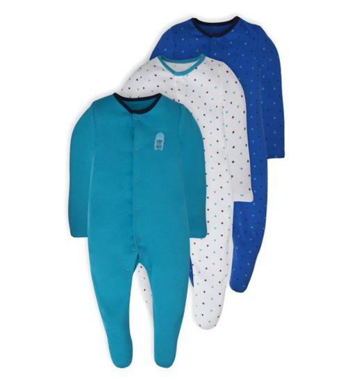 Mini Club Baby 3 Pack Long Sleeve Sleepsuits Monster