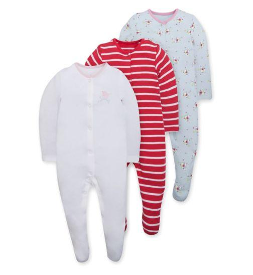 Mini Club Baby Girls 3 Pack Long Sleeve Sleepsuits Bird